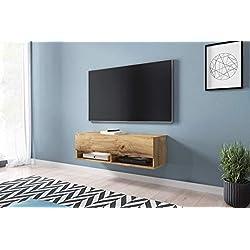 Wander - Meuble TV Suspendu/Banc TV avec LED (100 cm) (Effet chêne wotan)