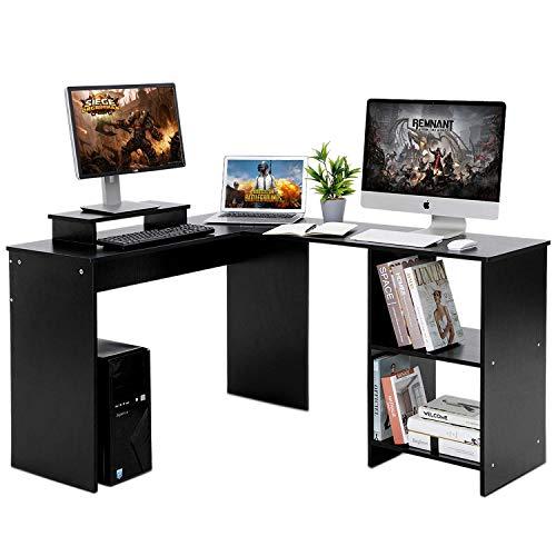Llivekit Computer-Schreibtisch, L-förmig, große Ecke, PC-Laptop-Tisch mit Bücherregal, Arbeitstisch, Gaming-Tisch für Home Office, inklusive Monitorständer, Holz und Metall, Schwarze Holzmaserung -