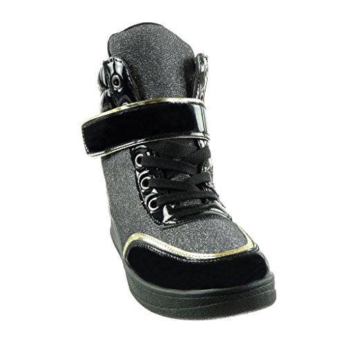 Angkorly Damen Schuhe Sneaker Keilabsatz - Bi-Material - Hohe - Glitzer - String Tanga - Glänzende Keilabsatz 7 cm Schwarz