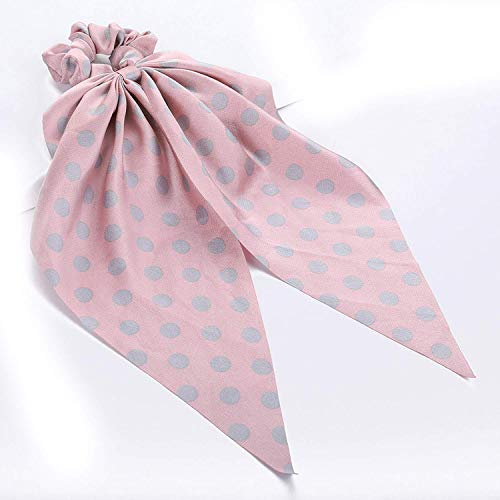 OULN1Y Stirnband Cotton Bow Scrunchies Elastic Hair Rope for Women Long Dot/Stripe/Flower Hair Ties Headband Stretch Hairband,Style 3 (Pack Knit Ties)