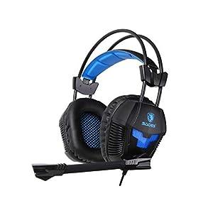 SADES SA921 Gaming-Headset, 3,5 mm Klinkenstecker, Stereo, Gaming-Kopfhörer mit Mikrofon und Splitter-Adapter für Laptop/PC/MAC / PS4/Xbox One/Handys (schwarz/orange)