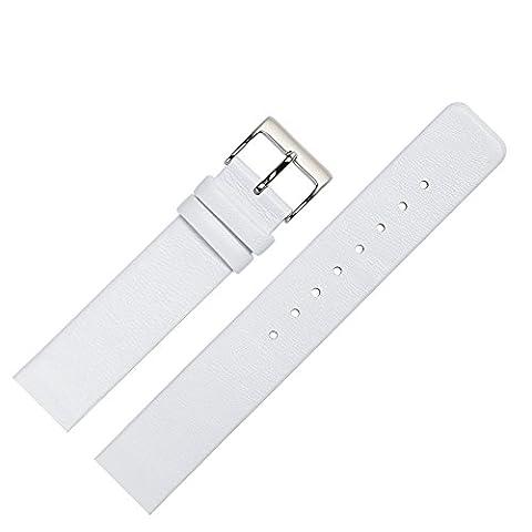 Uhrenarmband 14mm Leder glatt weiß - Ersatzband angepasst für Skagen Uhren mit Spezialanstoß (verschraubte Gehäuse) - schlichtes Marburger Uhrband passend für Uhren von Skagen - weiß / silber