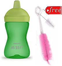 Philips Avent Hard Spout Cup 300ml (18M+) with Bottle & Nipple Brush Free (Green)
