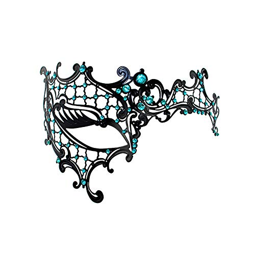 JingHeYongKeJi Half Face Metallmaske Fashion Style See Blue Diamond Masquerade Gl?nzende Karnevals-Party Mask Maske