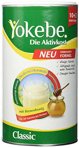Yokebe Classic Diätshake (zum Abnehmen, glutenfrei und vegetarisch, Mahlzeitersatz zur Gewichtsabnahme mit hochwertigen Proteinen, 480 g) 12 Portionen -
