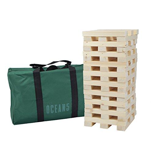 Ocean 5 XXL Riesen Wackelturm aus massivem Natur Holz, Jumbo Turm-Spiel, 60 Teile (21x4x2,5cm), bis zu 1,5m hoch Bauen mit dem Stapel-Geschicklichkeitsspiel