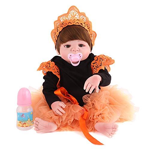 PINGJIA 22 Zoll 55 cm Reborn Puppe Sanfte Lebensechte Ändern Kleidung Reborn Kleinkind Mädchen Puppen Handgemachte Silikon Vinyl Kind Geschenk