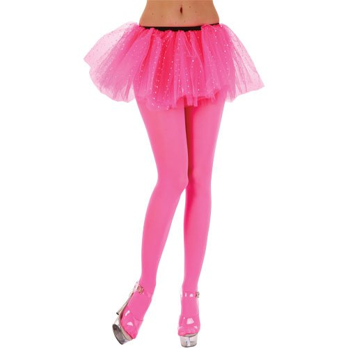 STD Ladies Opaque Tights / Neon Pink Tights for 80s Madona Fancy Dress