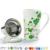 TEA SONG Tasse à thé (530ML) avec infuseur et Couvercle, Set à thé de Voyage avec...