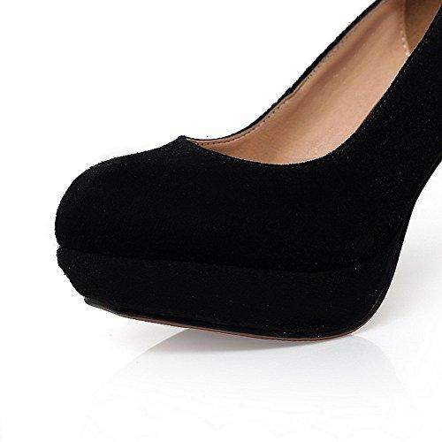 Adee Femme Round-Toe givré Pompes Chaussures à enfiler Noir - noir