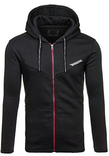 BOLF Herren Sweatshirt mit Kapuze Reißverschluss Pullover Basic sportlicher Stil Mix 1A1 Schwarz_J16