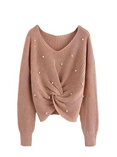 SOLY HUX Damen Perlen Kurz Bauchfrei Stickereien Pullover Langarm Sweatshirt Pullover Tops Bluse T-Shirt Oberteile Top Braun