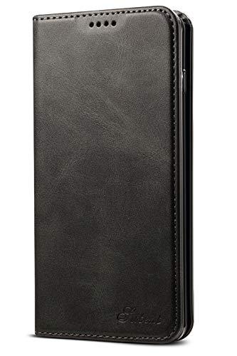 Leder Case Handyhülle Compatible with Samsung Galaxy 10+ Flip Case Handytasche mit Kredit Karten Hülle Geldklammer Unsichtbar Magnet und Stand Funktion Schutzhülle,Schwarz 10 Slim Tasche Case