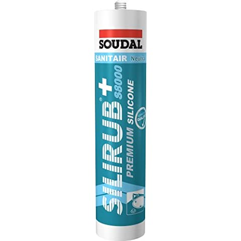 Soudal - Silicone Silirub S8000 neutro per sanitari, flacone da 310 ml, vasto assortimento colore