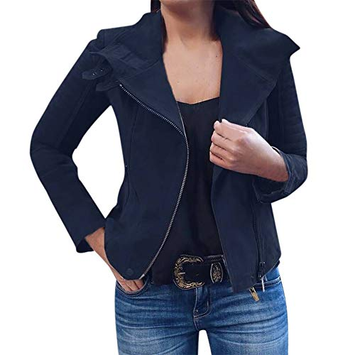 MERICAL Damen Retro Rivet Zipper Up Bomberjacke Lässig Mantel Outwear(Small,Marine)