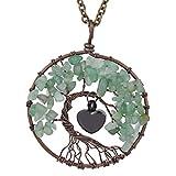 WANZIJING Memorial Halskette für Urne, Baum des Lebens Naturstein Medaillon Feuerbestattung Memorial Asche Anhänger Halskette Herz für Mama Papa Haustier,Grün