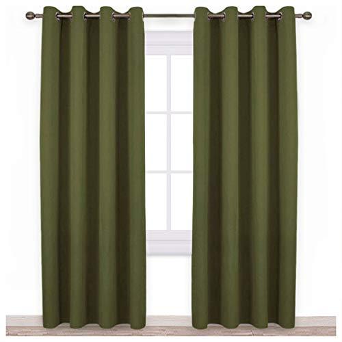 lide Tülle Verdunklungsvorhänge (Regular), Textil, olivgrün, W52 x L95 ()