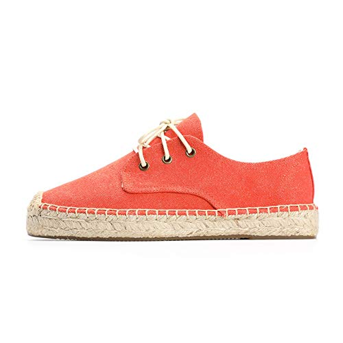 YOPAIYA Espadrilles,Damen Frühling Sommer Sneaker, Plateauschuhe Espadrilles In Orange Farbe, 38