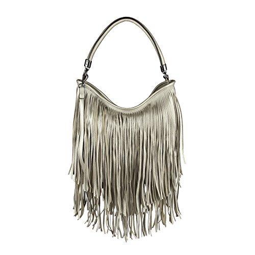 ital-design Damen Tasche Fransen Shopper Hobo-Bags Umhängetasche Schultertasche Handtasche Henkeltasche Schwarz Silber
