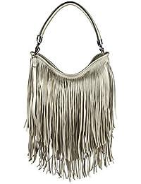 b8668fc6fc6dd ital-design Damen Tasche Fransen Shopper Hobo-Bags Umhängetasche  Schultertasche Handtasche Henkeltasche