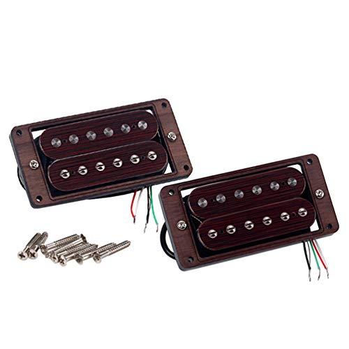 Healifty Tonabnehmer aus Palisander, für Gitarre, Hals, Brücke, Humbucker, Set aus Stahl, für E-Gitarren-Pedal (Kaffee)
