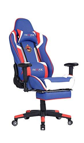 Ficmax Groß Racing Drehstuhl Bürostuhl Sportsitz Chefsessel Gaming Stuhl mit Verstellbare Kopfstütze und Fußstütze, Massage Lendenwirbelstütze inclusive - blau / rot