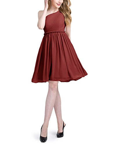 Find Dress Robe Demoiselle d'Honneur Femme Fille Enfant Epaule Asymétrique Plissé Robe de Mariée Princesse Femme Courte Robe de Cocktail pour Mariage Grande Taille Femme Ronde Bordeaux