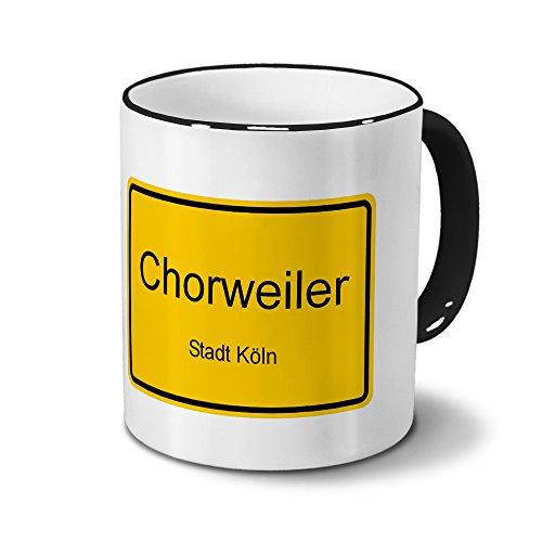 Städtetasse Chorweiler - Stadt Köln - Design Ortsschild - Stadt-Tasse, City-Mug, Becher Schwarz
