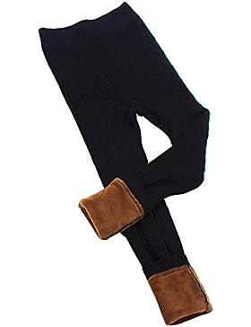 Leggings Punto Elástico De Niña Espesamiento Caliente Pierna Completa Pantalones