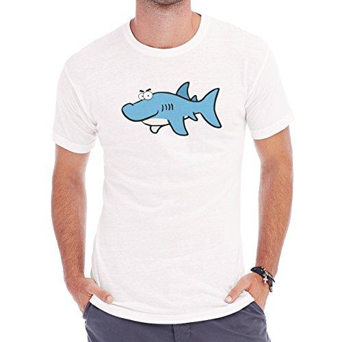 Shark Sea Fish Predator Blue Happy Cartoon Herren T-Shirt Weiß