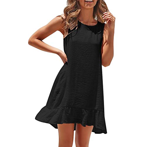 Sexy Womens Fashion Sleeveless Solid Color Casual Pleated Loose Summer Dress, Spring ()