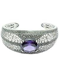 6660e83579a PH Artistic Sterling Silver 925 Cuff Bracelet Filigree Purple Amethyst semi  Precious Stones