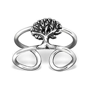 Bungsa .925 Sterling Silver Baum Ear Cuff Ohrklemme (Ohrklemme Ear Cuff Ohrstecker Ohrring Echtschmuck Studs Ohrschmuck Clip-On Damen Frauen Herren)