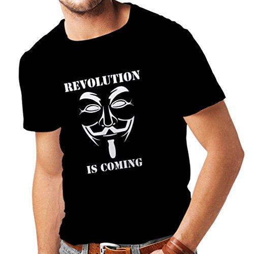 Vendetta Kostüm Mädchen V For - lepni.me Männer T-Shirt Die Revolution kommt - Die anonyme Hackermaske, V für Vendetta (Large Schwarz Weiß)