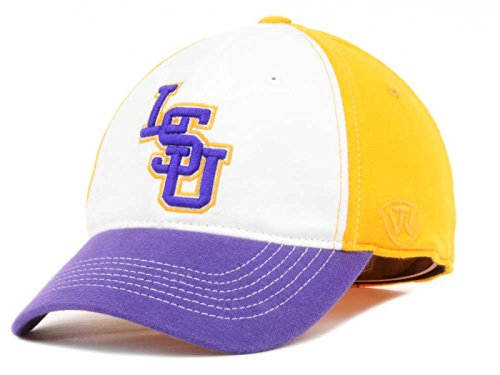 Top of the World Louisiana State Tigers NCAA Relaxed T-Shirt Jock Stretch Fit Mütze Cap, Gold/White/Purple, Einheitsgröße -