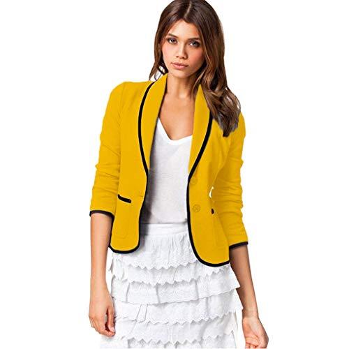 VECDY Damen Jacken,Räumungsverkauf- FrauBusiness Mantel Blazer Anzug Langarmshirts Slim Jacket Outwear Größe S-6XL Lässige warme Jacke (5XL, T-Gelb) (Für Kids Leder-jacke)