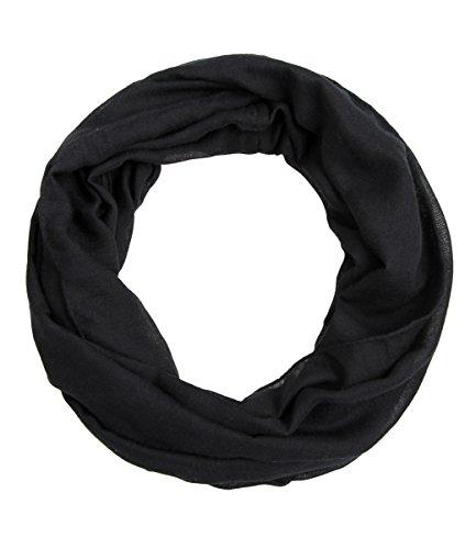 Majea schmaler Damen-Schal Loop Frühlingsschal Schlauchschal Rundschal Tuch uni unisex unifarben einfarbig Halstuch (schwarz)
