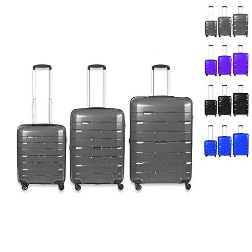 Set di tre valigie, Grandezza M, L, XL. Rivestimento resistente, trolley, borsa da viaggio grau grau