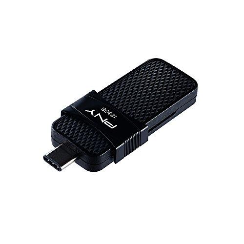 PNY P-FD128OTGSLTC-GE Unidad Flash USB 128 GB USB Type-A/USB Type-C 3.1 (3.1 Gen 1) Negro - Memoria USB (128 GB, USB Type-A/USB Type-C, 3.1 (3.1 Gen 1), Deslizar, Negro)