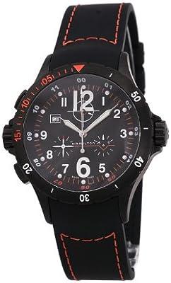 Hamilton Khaki Aviation Air Chrono H74592333 - Reloj de caballero de cuarzo, correa de caucho color negro