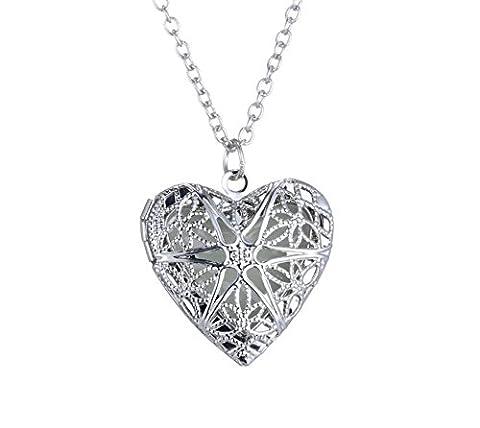 Halskette Anhänger Steampunk Herzen perforiert Pentagramm aus 925Sterling Silber, Medaillon Fee Magische Fluorescent beleuchtet rougeoyant in der Nacht