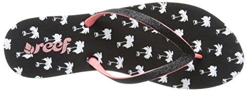 Reef Stargazer Prints, Flip-Flop Femme Noir (Black Palms)
