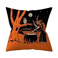 88AMZ 45cm x 45cm Halloween Square Polyester Decorative Pillowcase, Home Decor Witch Ghost Printing Cushion Cover, Perfect for Halloween and Theme Parties (P)