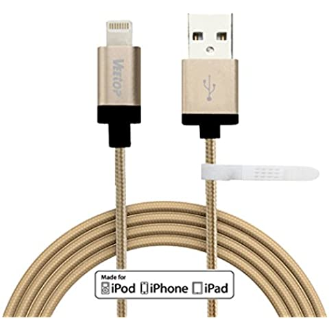 (MFI licencia por Apple)-Veetop®8 Pin cargador de sincronización con cable de datos de USB Lightning para iPhone 6, 6 plus, 5, 5c, 5s, iPad Air,iPad Retina, iPad mini, iPad mini Retina, iPod Nano 7, iPod Touch 5 (con velcro para para embalaje y almacenamiento)(1.0m Cable trenzado, Oro)