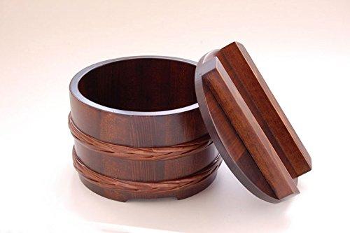 Yamako Japanische Bucket Stil Holz Schüssel w/Deckel Dunkelbraun 3101631017 -