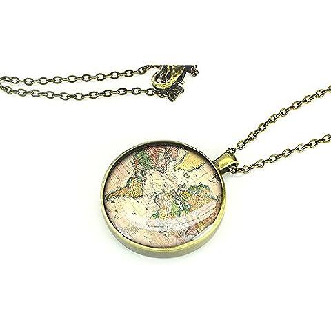 1893, motivo: mappa del mondo, realizzata a mano, gioielleria, collana con ciondolo, motivo: best gift ideas-girlfriend