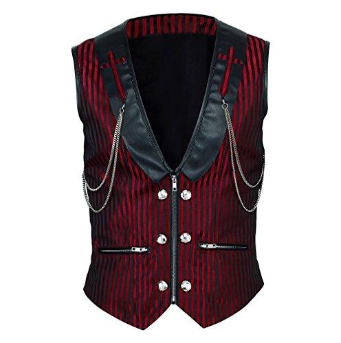Vintage Goth Weste Brokat Streifen Steampunk Gothic Schwarz Rot (Tasche Rot Brokat)