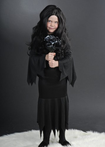 Kinder Größe Halloween Morticia Style Kostüm Medium (7-9 - Kind Morticia Kostüm