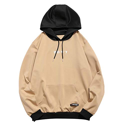 ZAFUL Herren Kapuzenpullover mit Kängurutasche Kontrastfarbe Hoodie Sweater Sweatshirt Pullover Pulli Khaki Large