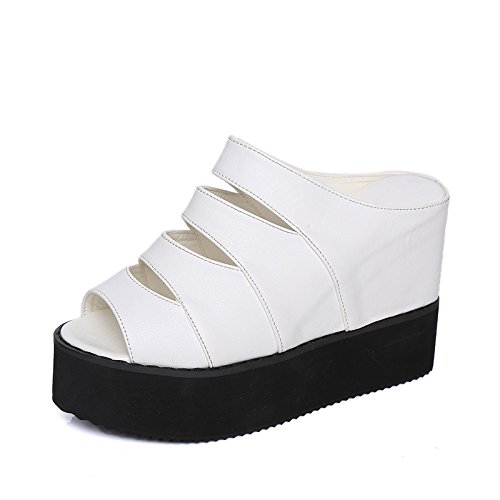 ZPPZZP Ms sandali pantofole spessa a tacco alto 35EU